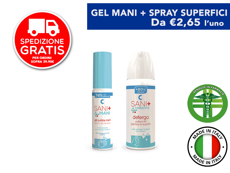 Sani+ Gel Mani 70% alcool + Spray Superfici
